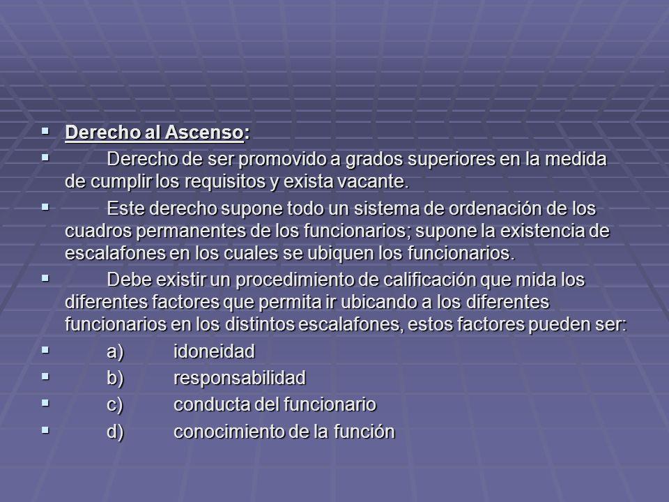Derecho al Ascenso: Derecho al Ascenso: Derecho de ser promovido a grados superiores en la medida de cumplir los requisitos y exista vacante. Derecho