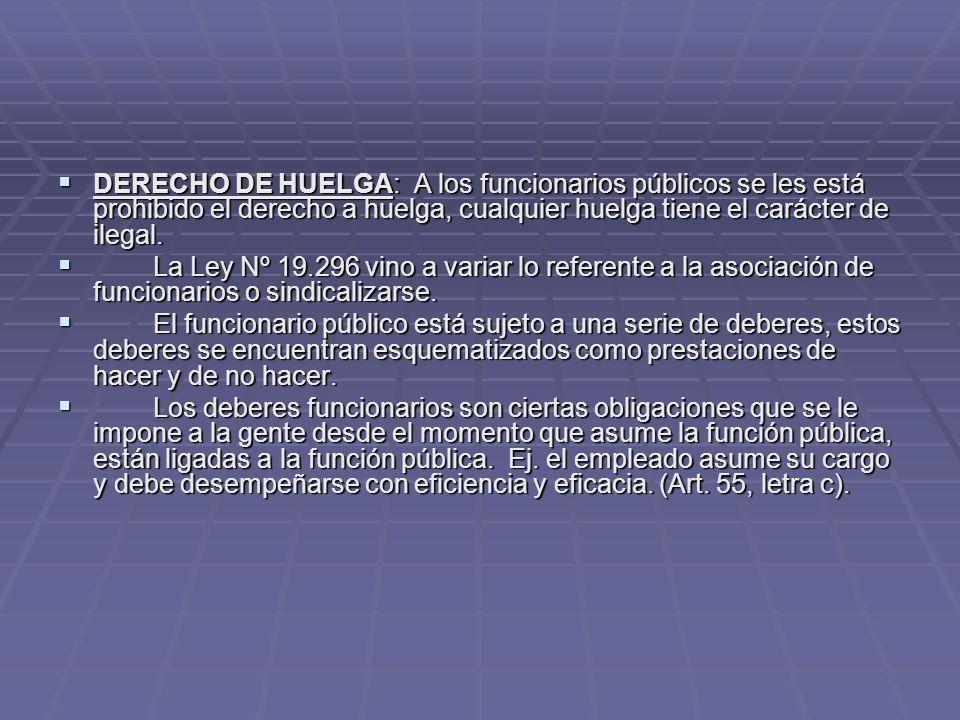 DERECHO DE HUELGA: A los funcionarios públicos se les está prohibido el derecho a huelga, cualquier huelga tiene el carácter de ilegal.
