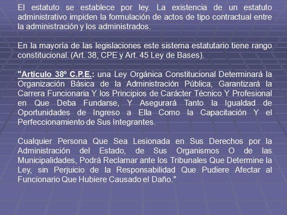 El estatuto se establece por ley. La existencia de un estatuto administrativo impiden la formulación de actos de tipo contractual entre la administrac