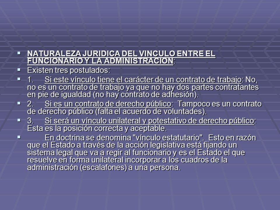 NATURALEZA JURIDICA DEL VINCULO ENTRE EL FUNCIONARIO Y LA ADMINISTRACION: NATURALEZA JURIDICA DEL VINCULO ENTRE EL FUNCIONARIO Y LA ADMINISTRACION: Ex