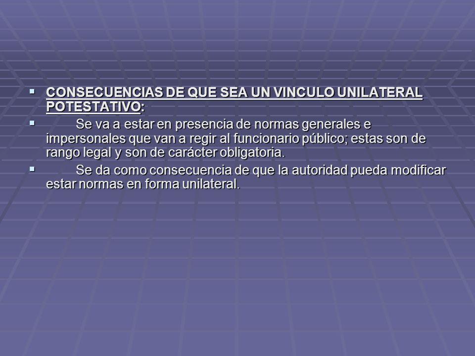 CONSECUENCIAS DE QUE SEA UN VINCULO UNILATERAL POTESTATIVO: CONSECUENCIAS DE QUE SEA UN VINCULO UNILATERAL POTESTATIVO: Se va a estar en presencia de