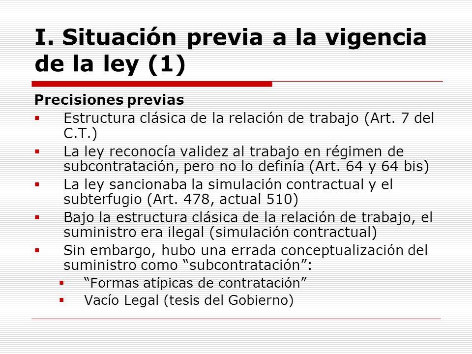 I. Situación previa a la vigencia de la ley (1) Precisiones previas Estructura clásica de la relación de trabajo (Art. 7 del C.T.) La ley reconocía va