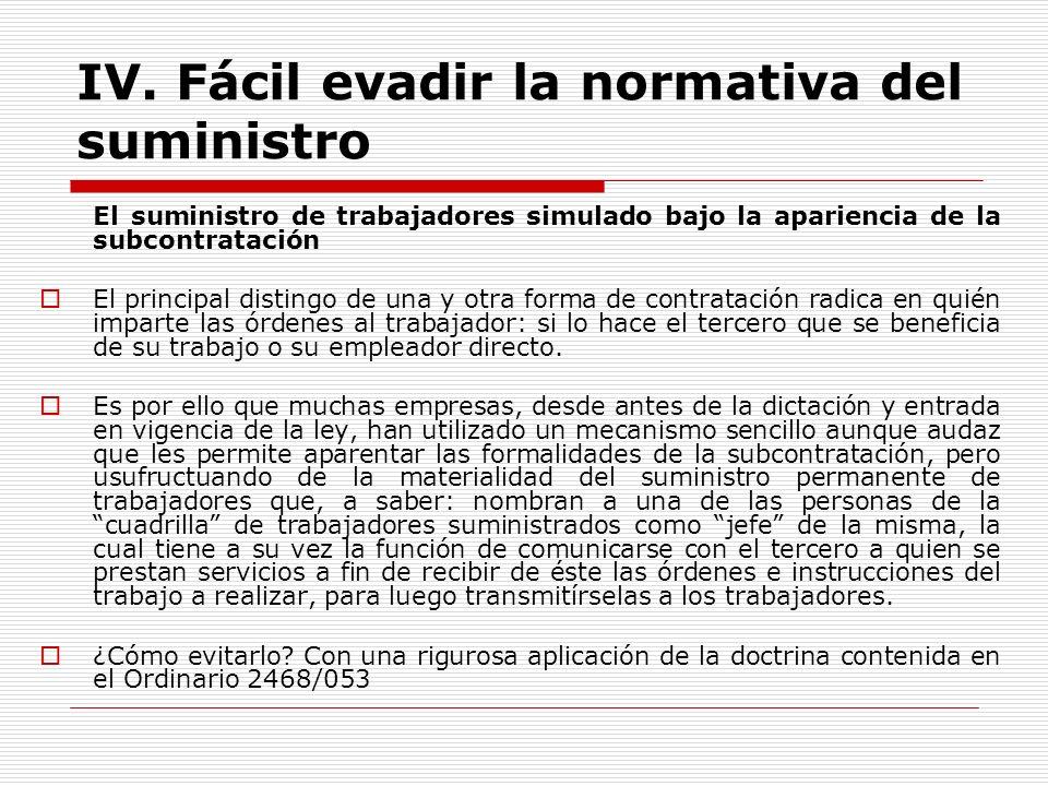IV. Fácil evadir la normativa del suministro El suministro de trabajadores simulado bajo la apariencia de la subcontratación El principal distingo de