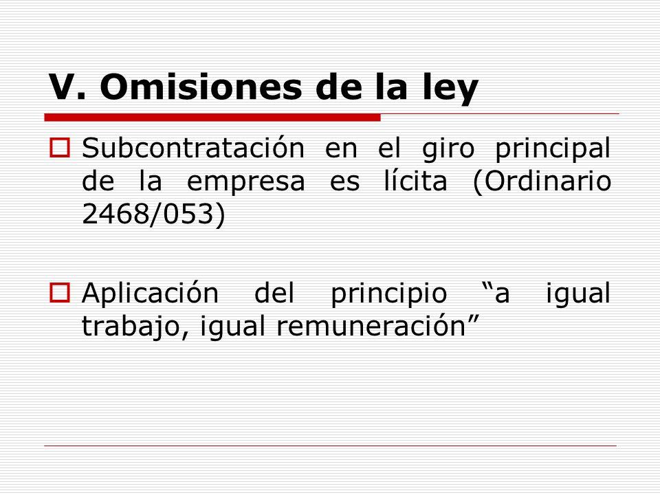 V. Omisiones de la ley Subcontratación en el giro principal de la empresa es lícita (Ordinario 2468/053) Aplicación del principio a igual trabajo, igu