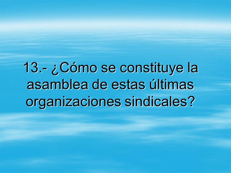 13.- ¿Cómo se constituye la asamblea de estas últimas organizaciones sindicales?