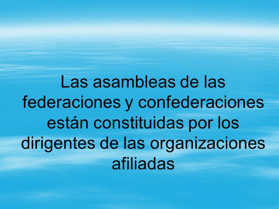 Las asambleas de las federaciones y confederaciones están constituidas por los dirigentes de las organizaciones afiliadas