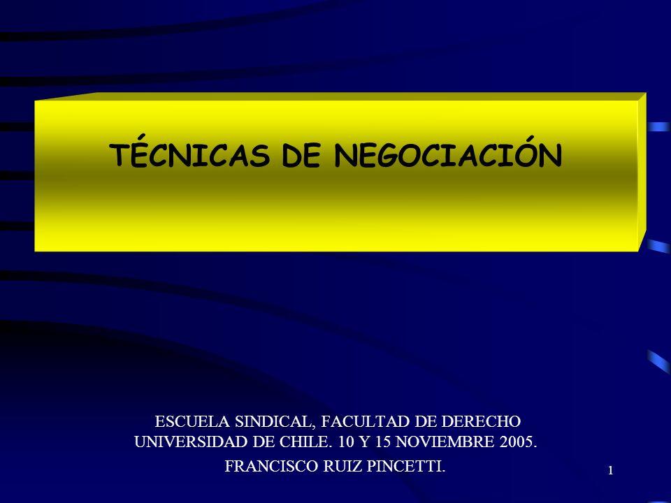 1 TÉCNICAS DE NEGOCIACIÓN ESCUELA SINDICAL, FACULTAD DE DERECHO UNIVERSIDAD DE CHILE.
