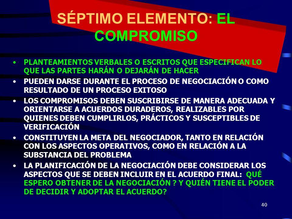 39 SEXTO ELEMENTO: LA RELACIÓN LA CALIDAD DEL RESULTADO DE UNA NEGOCIACIÓN ES PROPORCIONAL A LA CALIDAD DE LA RELACIÓN DE TRABAJO ENTRE LAS PARES Y SU CAPACIDAD PARA TRABAJAR CONJUNTAMENTE SE RELACIONA CON LA CAPACIDAD DE RESOLVER BIEN LAS DIFERENCIAS ERRORES: - CONFUNDIR LA RELACIÓN CON LO ESENCIAL, ENGLOBANDO A LAS PERSONAS Y AL PROBLEMA COMO UN TODO »SUPONER QUE LA RELACIÓN ES ALGO DADO Y QUE SI ESTÁ DETERIORADA ES CULPA DEL OTRO