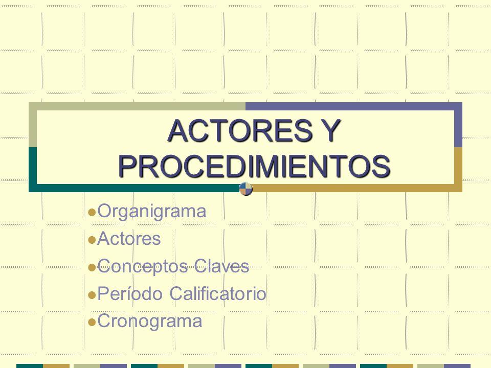 ACTORES Y PROCEDIMIENTOS Organigrama Actores Conceptos Claves Período Calificatorio Cronograma
