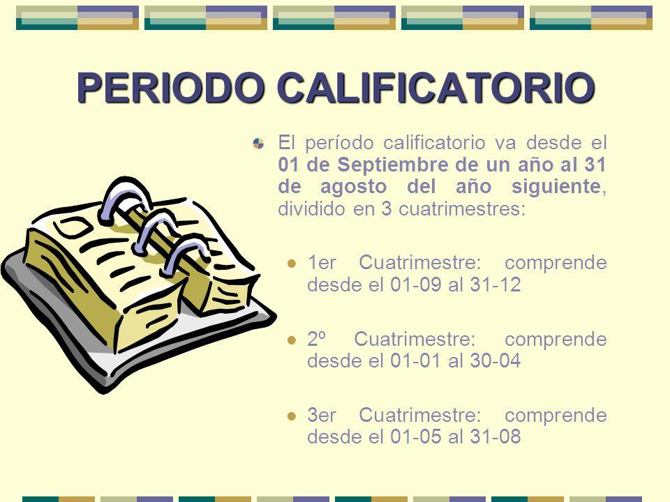 PERIODO CALIFICATORIO El período calificatorio va desde el 01 de Septiembre de un año al 31 de agosto del año siguiente, dividido en 3 cuatrimestres: