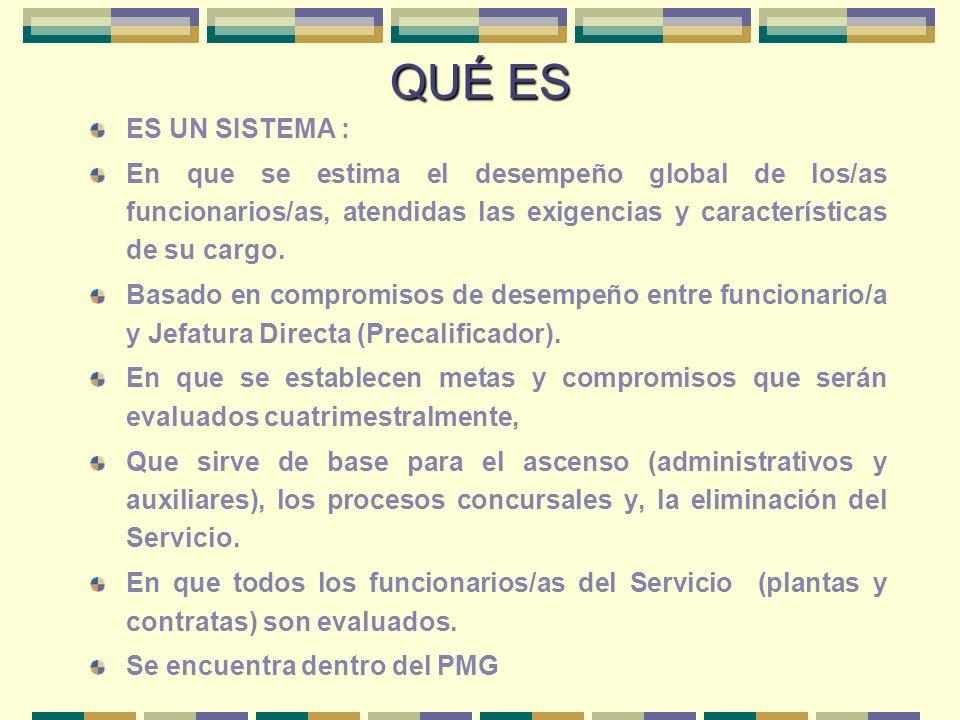 QUÉ ES ES UN SISTEMA : En que se estima el desempeño global de los/as funcionarios/as, atendidas las exigencias y características de su cargo. Basado