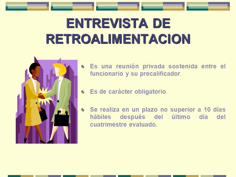 ENTREVISTA DE RETROALIMENTACION Es una reunión privada sostenida entre el funcionario y su precalificador. Es de carácter obligatorio. Se realiza en u