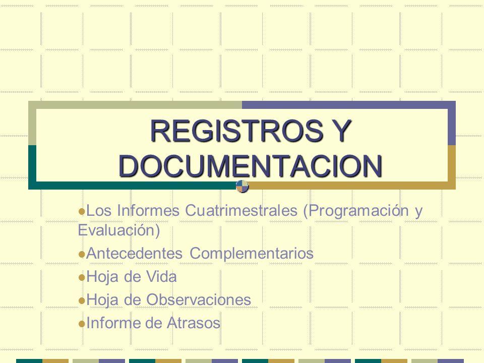 REGISTROS Y DOCUMENTACION Los Informes Cuatrimestrales (Programación y Evaluación) Antecedentes Complementarios Hoja de Vida Hoja de Observaciones Inf