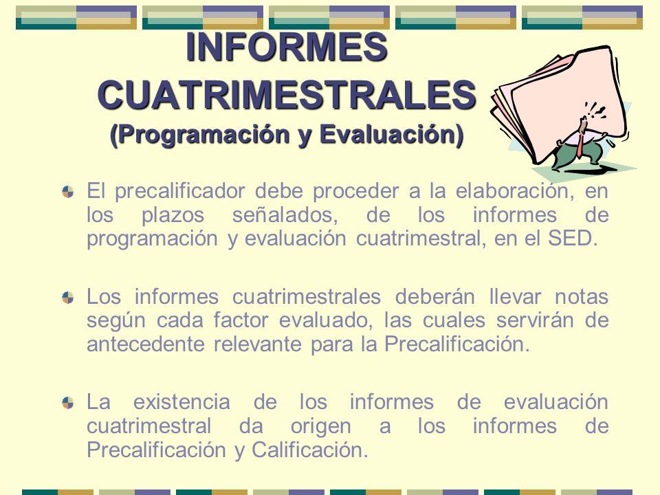 INFORMES CUATRIMESTRALES (Programación y Evaluación) El precalificador debe proceder a la elaboración, en los plazos señalados, de los informes de pro