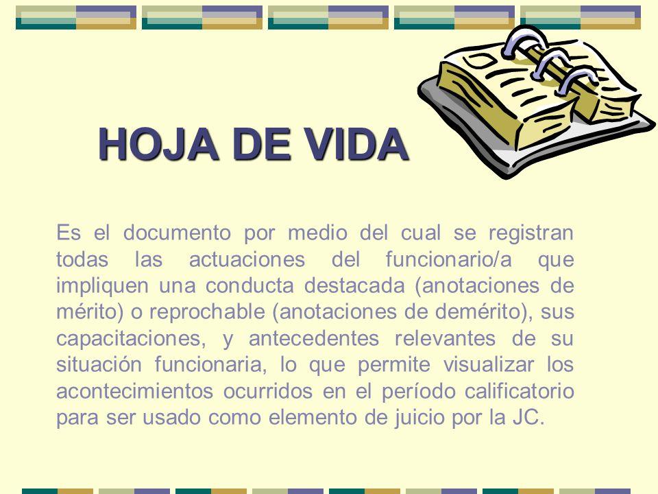 HOJA DE VIDA Es el documento por medio del cual se registran todas las actuaciones del funcionario/a que impliquen una conducta destacada (anotaciones