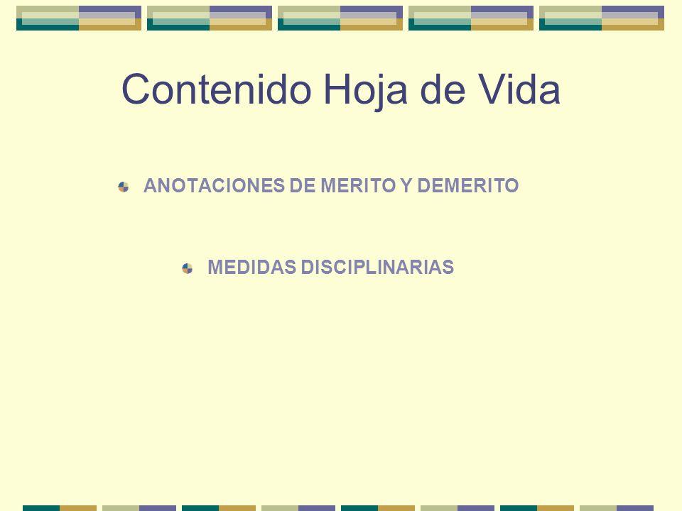 Contenido Hoja de Vida ANOTACIONES DE MERITO Y DEMERITO MEDIDAS DISCIPLINARIAS