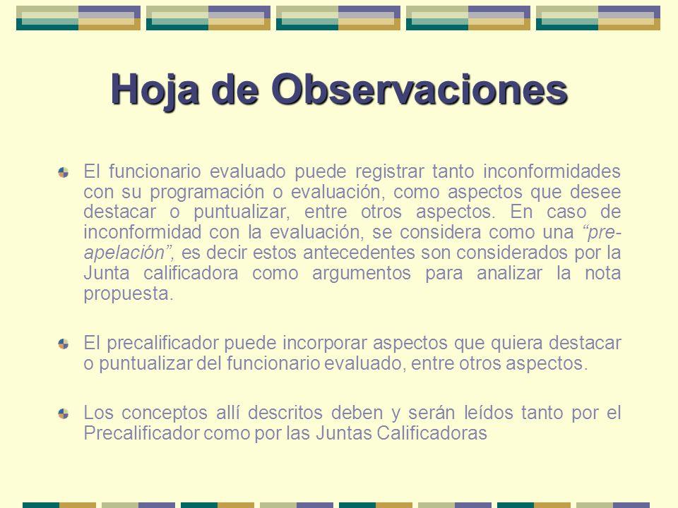 Hoja de Observaciones El funcionario evaluado puede registrar tanto inconformidades con su programación o evaluación, como aspectos que desee destacar
