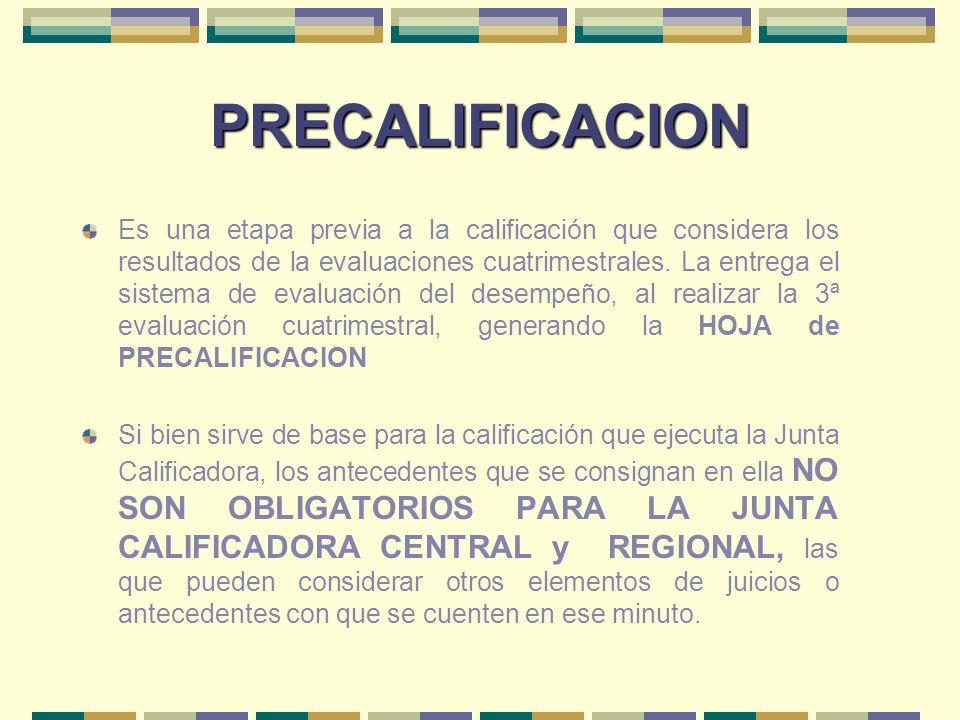 PRECALIFICACION Es una etapa previa a la calificación que considera los resultados de la evaluaciones cuatrimestrales. La entrega el sistema de evalua