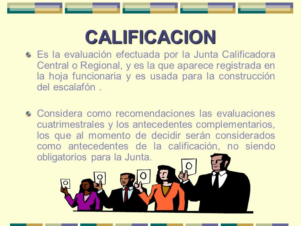 CALIFICACION Es la evaluación efectuada por la Junta Calificadora Central o Regional, y es la que aparece registrada en la hoja funcionaria y es usada