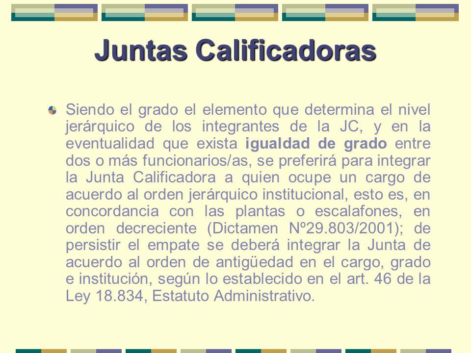 Juntas Calificadoras Siendo el grado el elemento que determina el nivel jerárquico de los integrantes de la JC, y en la eventualidad que exista iguald
