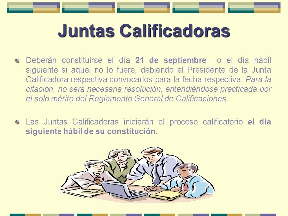 Juntas Calificadoras Deberán constituirse el día 21 de septiembre o el día hábil siguiente si aquel no lo fuere, debiendo el Presidente de la Junta Ca