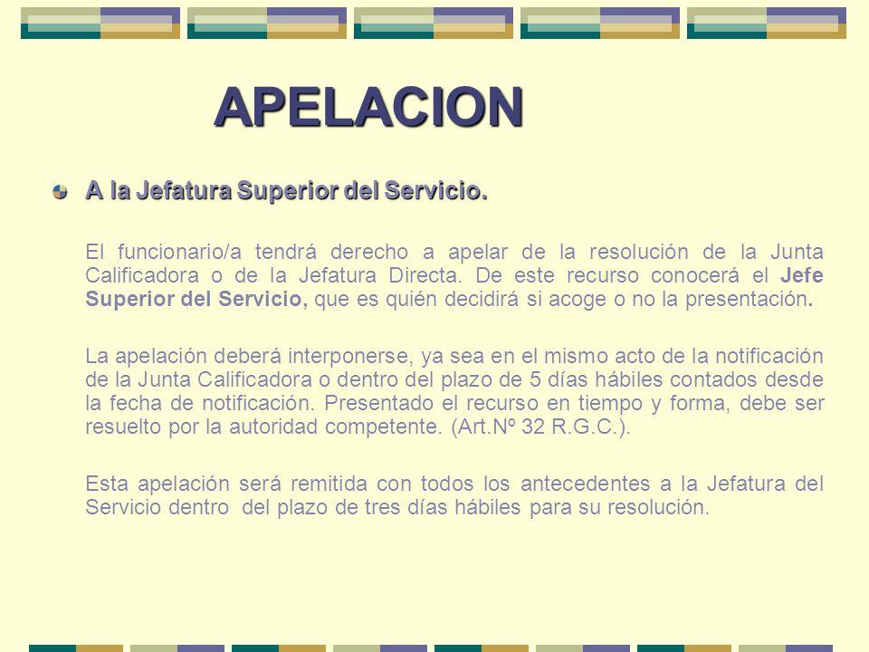 APELACION A la Jefatura Superior del Servicio. El funcionario/a tendrá derecho a apelar de la resolución de la Junta Calificadora o de la Jefatura Dir