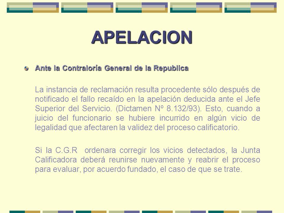 APELACION Ante la Contraloría General de la Republica La instancia de reclamación resulta procedente sólo después de notificado el fallo recaído en la