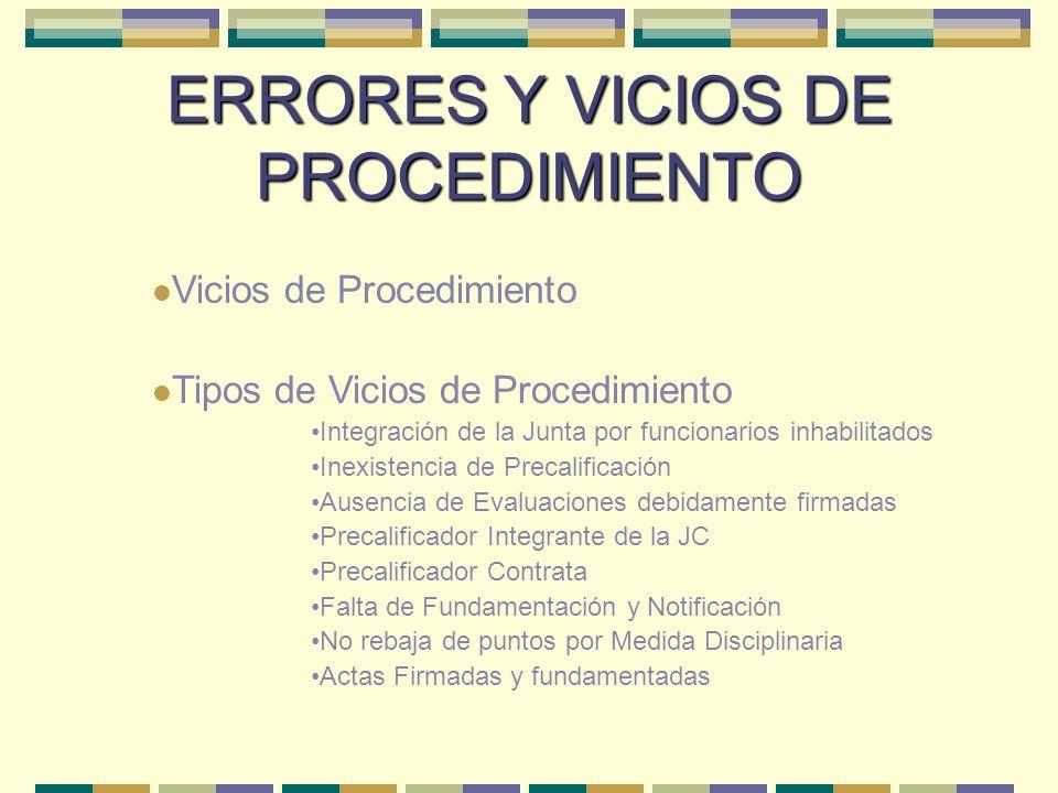 ERRORES Y VICIOS DE PROCEDIMIENTO Vicios de Procedimiento Tipos de Vicios de Procedimiento Integración de la Junta por funcionarios inhabilitados Inex