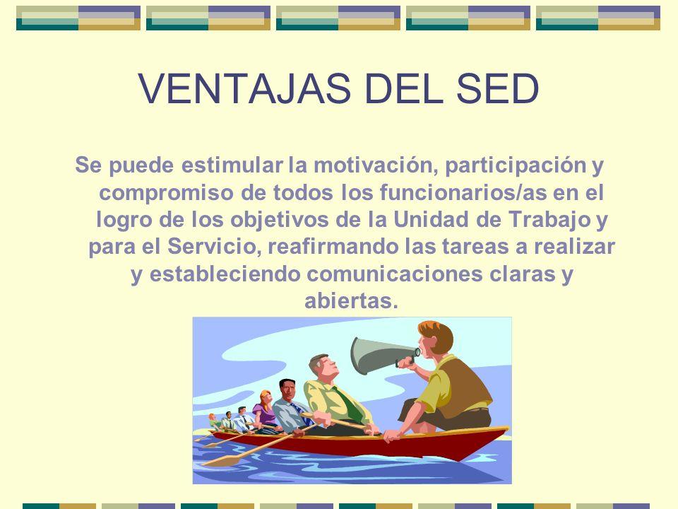 VENTAJAS DEL SED Se puede estimular la motivación, participación y compromiso de todos los funcionarios/as en el logro de los objetivos de la Unidad d