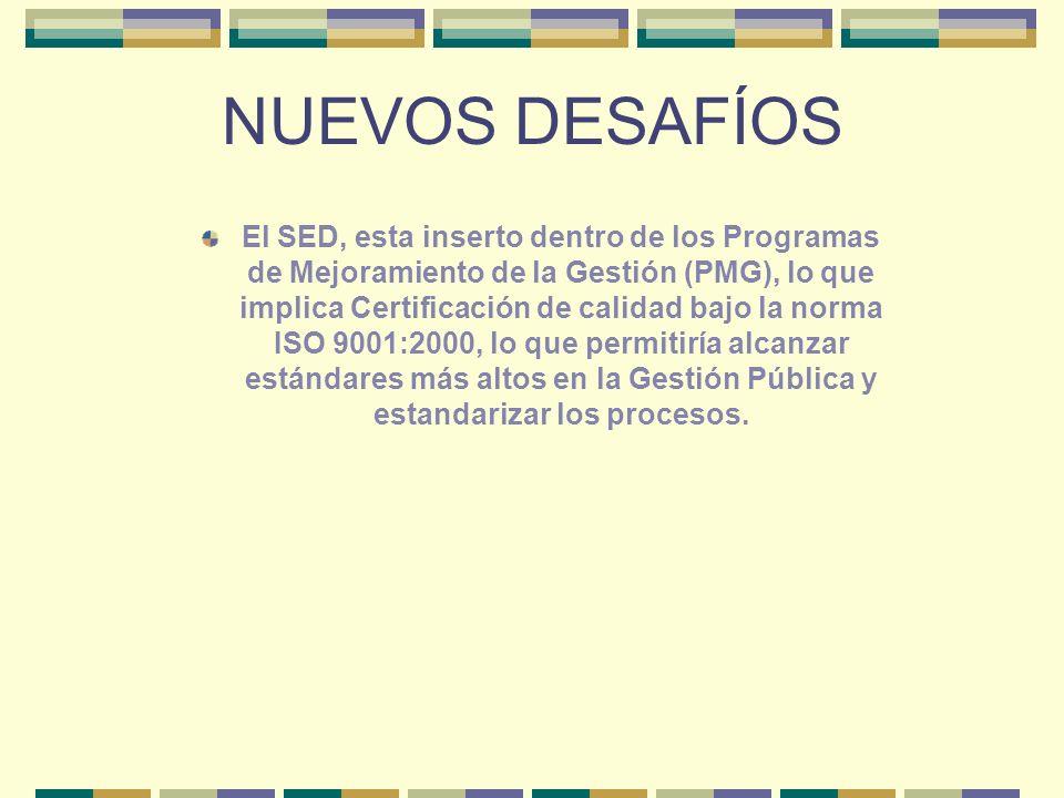 NUEVOS DESAFÍOS El SED, esta inserto dentro de los Programas de Mejoramiento de la Gestión (PMG), lo que implica Certificación de calidad bajo la norm