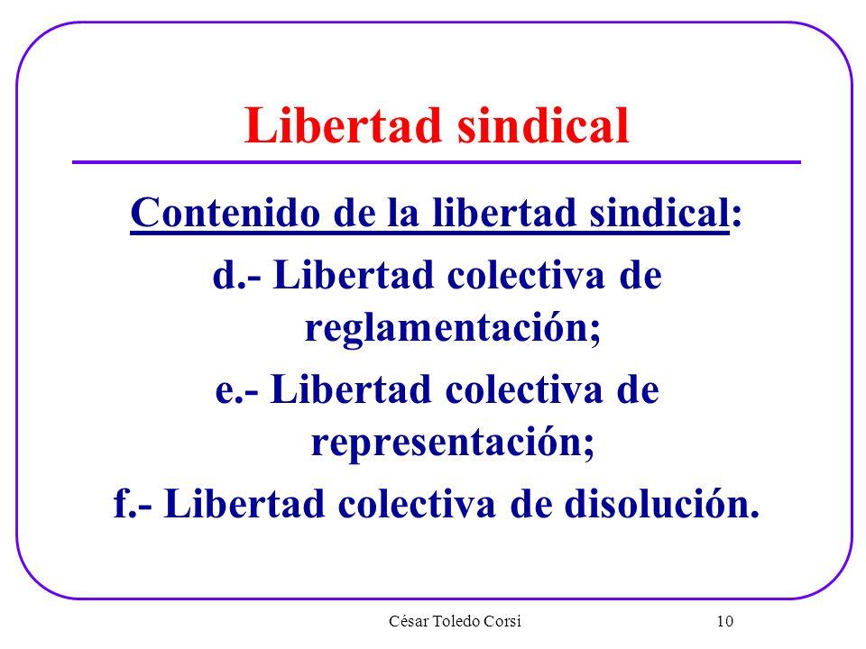 Libertad sindical Contenido de la libertad sindical: d.- Libertad colectiva de reglamentación; e.- Libertad colectiva de representación; f.- Libertad