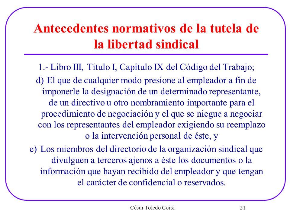 Antecedentes normativos de la tutela de la libertad sindical 1.- Libro III, Título I, Capítulo IX del Código del Trabajo; d)El que de cualquier modo p