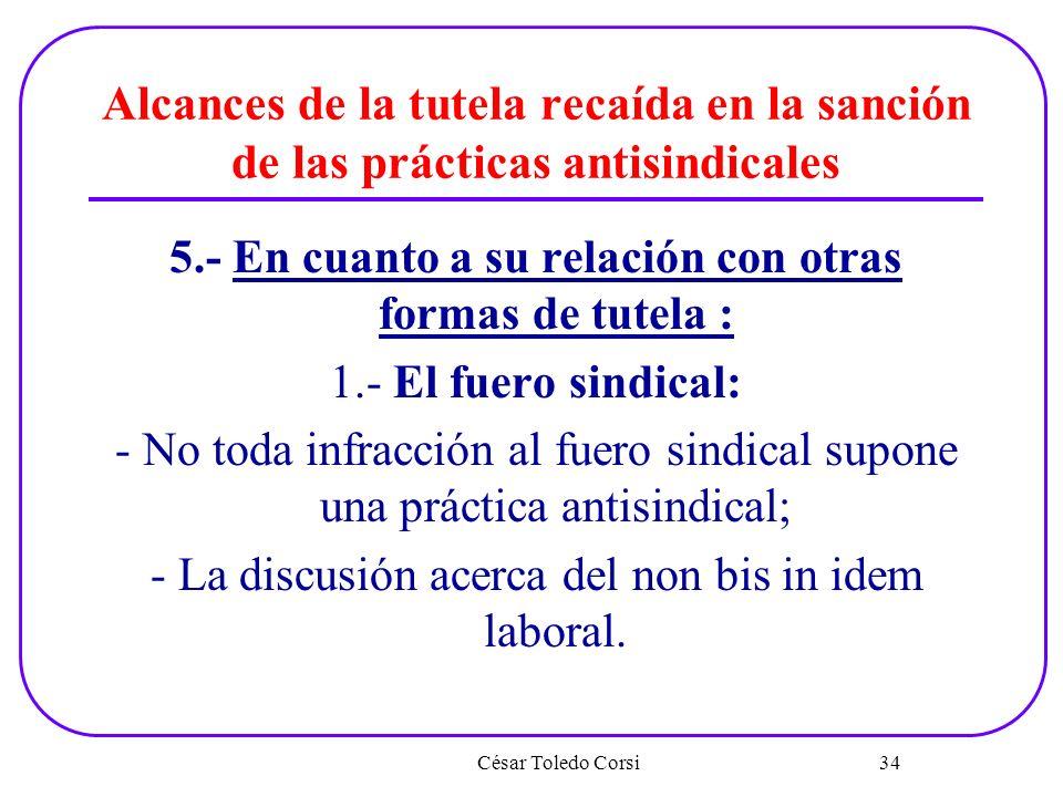 Alcances de la tutela recaída en la sanción de las prácticas antisindicales 5.- En cuanto a su relación con otras formas de tutela : 1.- El fuero sind