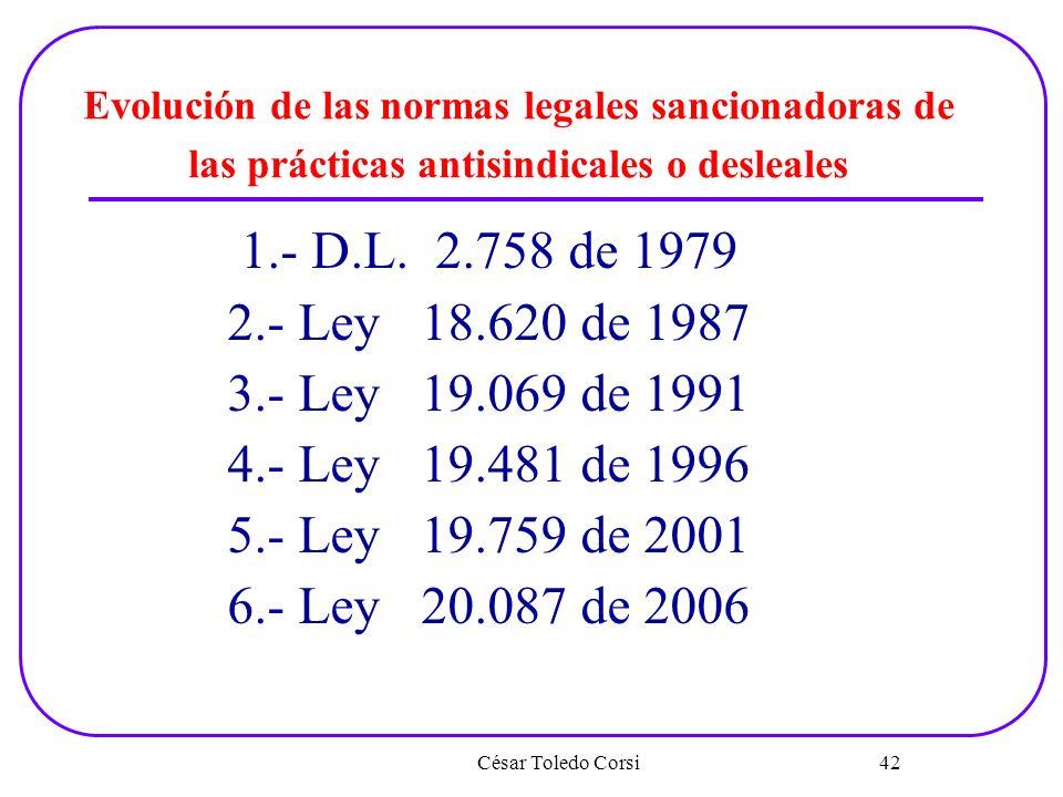 César Toledo Corsi 42 Evolución de las normas legales sancionadoras de las prácticas antisindicales o desleales 1.- D.L. 2.758 de 1979 2.- Ley 18.620