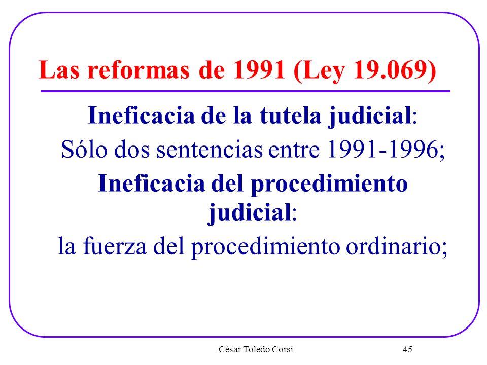 César Toledo Corsi 45 Las reformas de 1991 (Ley 19.069) Ineficacia de la tutela judicial: Sólo dos sentencias entre 1991-1996; Ineficacia del procedim