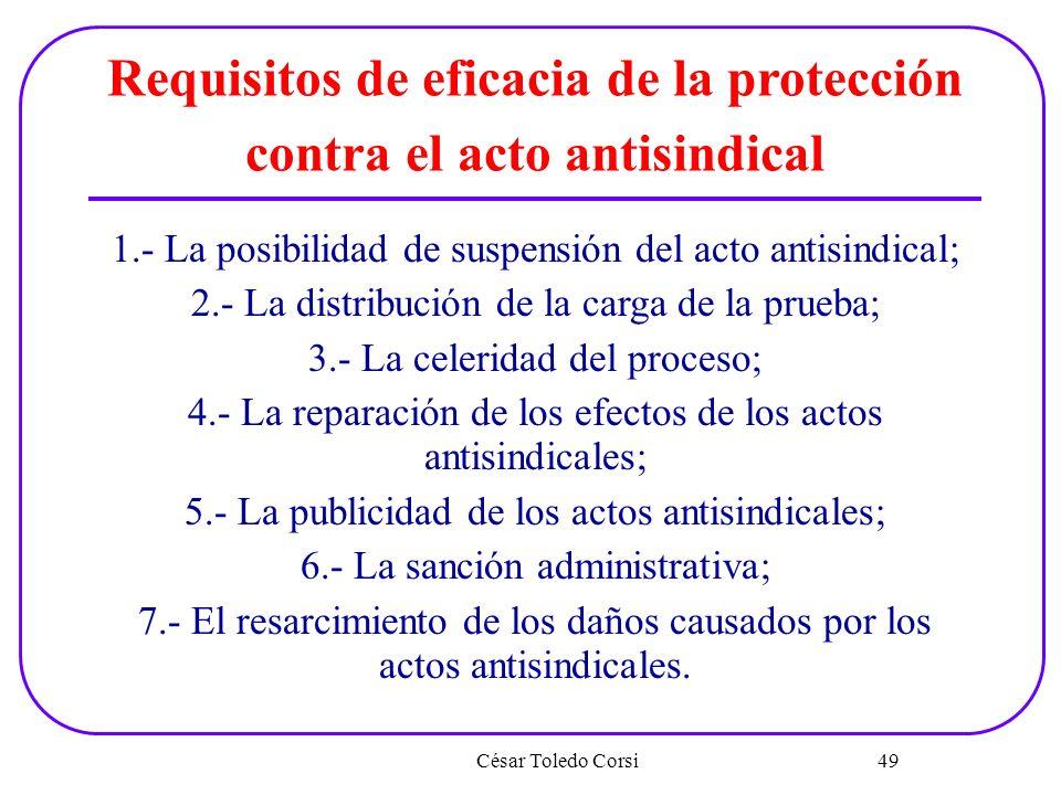 César Toledo Corsi 49 Requisitos de eficacia de la protección contra el acto antisindical 1.- La posibilidad de suspensión del acto antisindical; 2.-