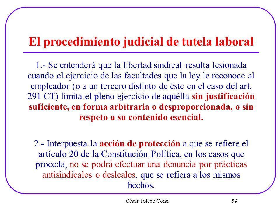 César Toledo Corsi 59 El procedimiento judicial de tutela laboral 1.- Se entenderá que la libertad sindical resulta lesionada cuando el ejercicio de l