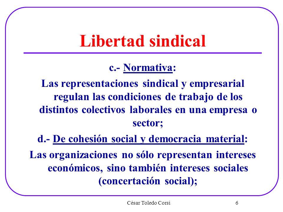 Libertad sindical c.- Normativa: Las representaciones sindical y empresarial regulan las condiciones de trabajo de los distintos colectivos laborales