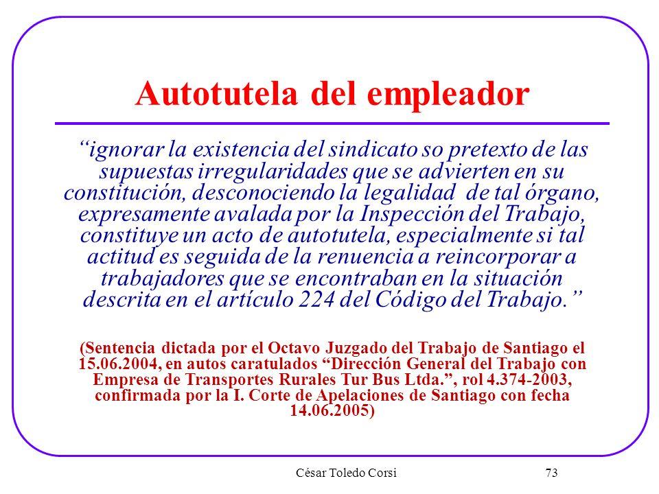 César Toledo Corsi 73 Autotutela del empleador ignorar la existencia del sindicato so pretexto de las supuestas irregularidades que se advierten en su