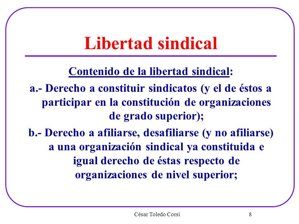 Libertad sindical Contenido de la libertad sindical: a.- Derecho a constituir sindicatos (y el de éstos a participar en la constitución de organizacio