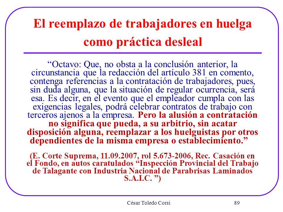 César Toledo Corsi 89 El reemplazo de trabajadores en huelga como práctica desleal Octavo: Que, no obsta a la conclusión anterior, la circunstancia qu