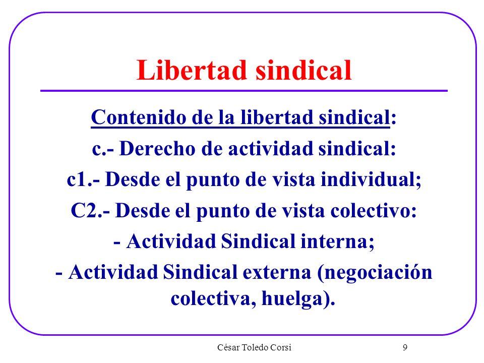 Libertad sindical Contenido de la libertad sindical: c.- Derecho de actividad sindical: c1.- Desde el punto de vista individual; C2.- Desde el punto d