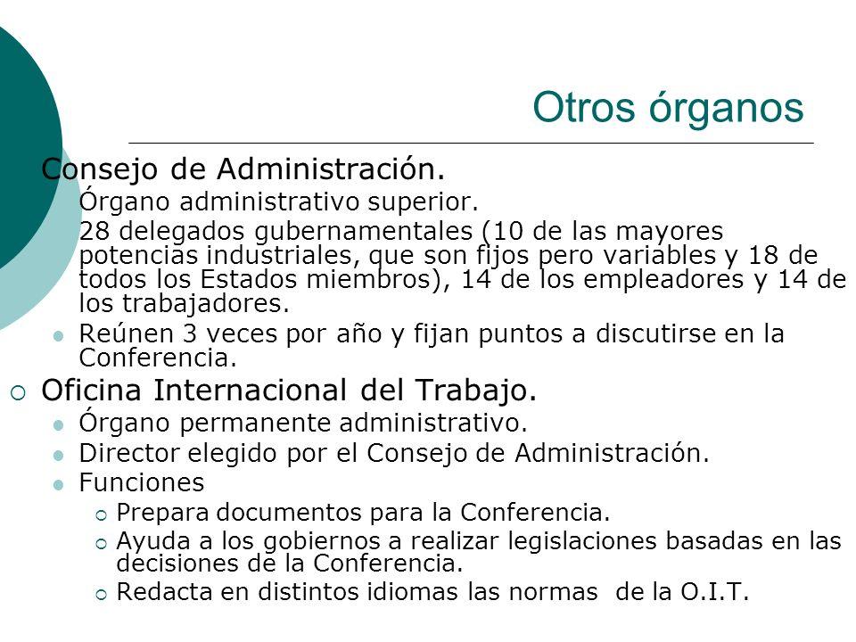 Otros órganos Consejo de Administración. Órgano administrativo superior. 28 delegados gubernamentales (10 de las mayores potencias industriales, que s