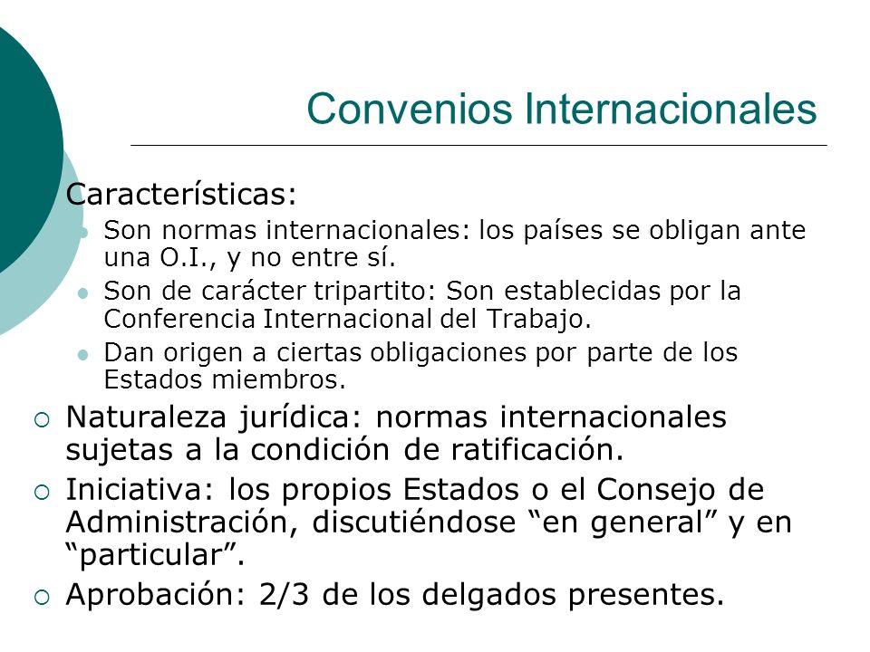 Convenios Internacionales Características: Son normas internacionales: los países se obligan ante una O.I., y no entre sí. Son de carácter tripartito: