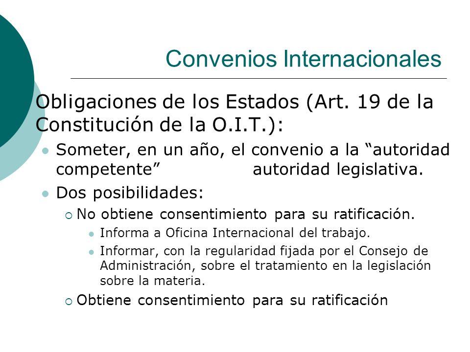 Convenios Internacionales Obligaciones de los Estados (Art. 19 de la Constitución de la O.I.T.): Someter, en un año, el convenio a la autoridad compet
