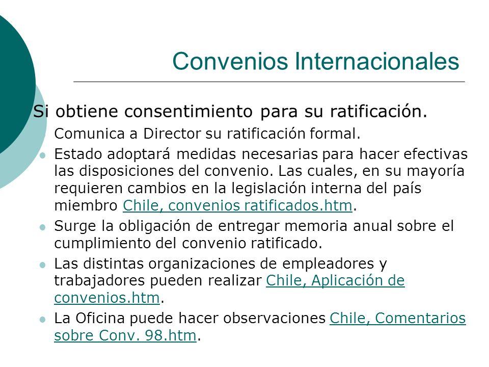 Convenios Internacionales Si obtiene consentimiento para su ratificación. Comunica a Director su ratificación formal. Estado adoptará medidas necesari