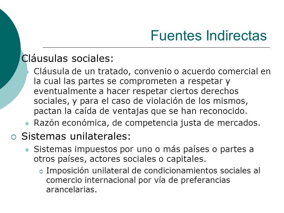 Fuentes Indirectas Cláusulas sociales: Cláusula de un tratado, convenio o acuerdo comercial en la cual las partes se comprometen a respetar y eventual