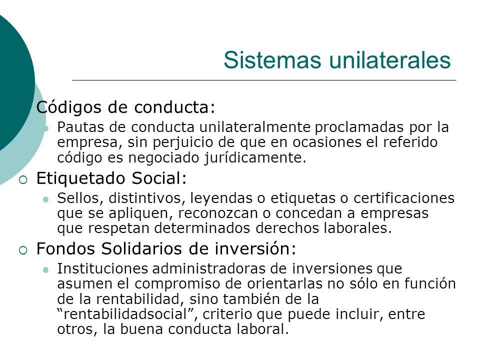 Sistemas unilaterales Códigos de conducta: Pautas de conducta unilateralmente proclamadas por la empresa, sin perjuicio de que en ocasiones el referid