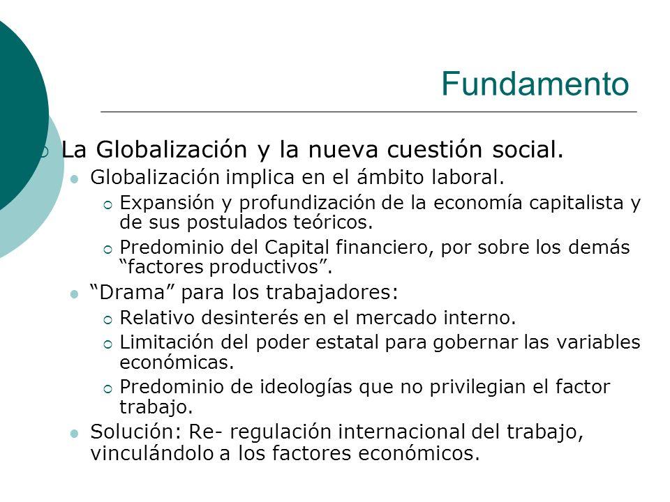 Fundamento La Globalización y la nueva cuestión social. Globalización implica en el ámbito laboral. Expansión y profundización de la economía capitali