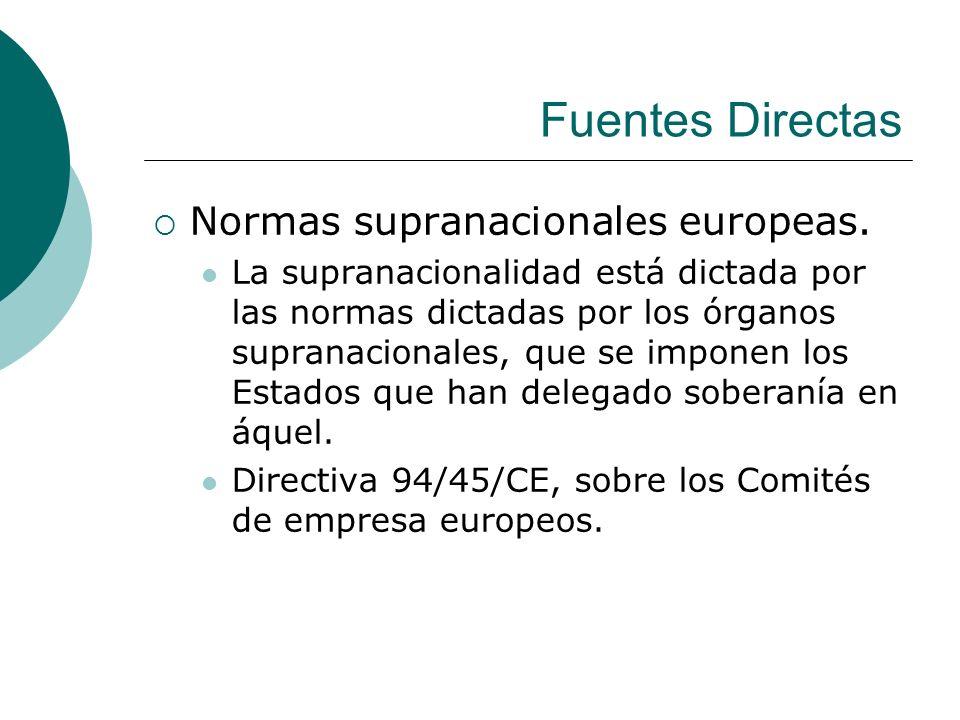 Fuentes Directas Normas supranacionales europeas. La supranacionalidad está dictada por las normas dictadas por los órganos supranacionales, que se im